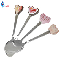 1Pcs Metal Stainless Steel Spoon Bread Cake Decor Handle Coffee Spoon Baby Kids Dessert Spoon Feeding Children Tableware
