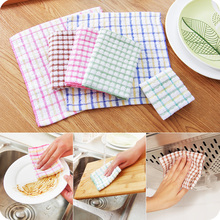 1pc England Lattice Cotton Yarn Cleaning Wipes Kitchen Cloth Non - stick Oil Wash Cloth Absorbent Towel Clean Cloth(China)