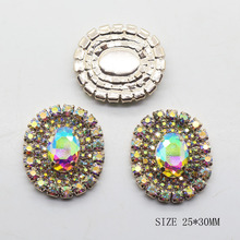 Free Shipping 10Pcs/Lot 30*25mm Glass Rhinestones Button Gold Diy Bow Accessory Ribbon Wedding decorative Oval Buttons(China)