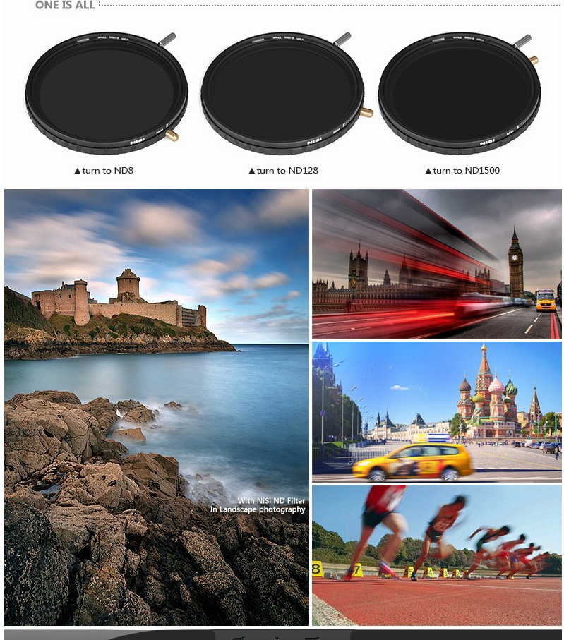 NiSi 77mm ND8-1500 ND Filter Multi Coating Camera Filters Adjustable Reduce Light Neutral Glass Filters 4
