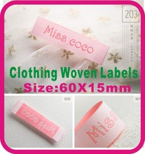 Miss CoCo labels,Top Grade clothing labels, main woven labels, ,Custom Labels for your shop, woven logo ,60X15mm(China)