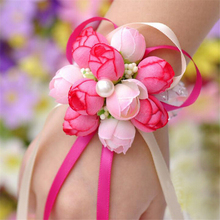 Korean Elegant Wrist Flower Rose Silk Ribbon Corsage Hand decor Pearls Wristband Bracelet Bridesmaid Band Clip Wedding Bouquet