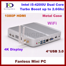 Portable Network Mini PC Core i5 4200U 1.6~2.6GHz Nettop with 8GB RAM+64GB SSD+1TB HDD,Gaming PC Fanless Desktop Computer,TV Box