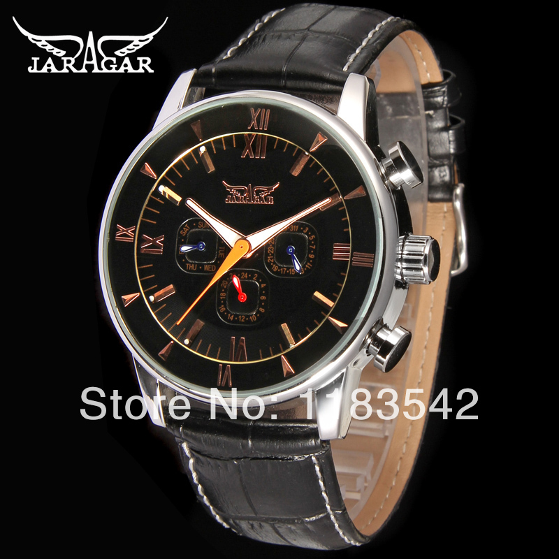 Jargar  High-end 24 Hours Clock Male Gift For Businessman With Genuine Leather Strap Alloy CaseJAG6901M3S1<br>