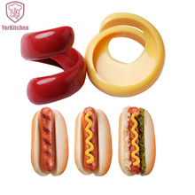 2pcs Cheap Plastic Sausage Cutter Barbecue Hot Dogs Slicers Sausage Slicers Kitchen Gadgets(China)