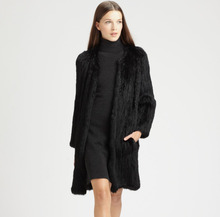 Real Knitted Rabbit Fur Coat Women Fashion Coat Thick Knitted Rabbit Fur Handmade Overcoat Women Long Coat