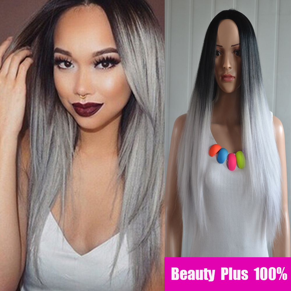 New Hot Sell Black And Gray long Straight Ombre Sexy womens wig synthetic ombre none lace front wig Heat Resistant ombre wig<br><br>Aliexpress