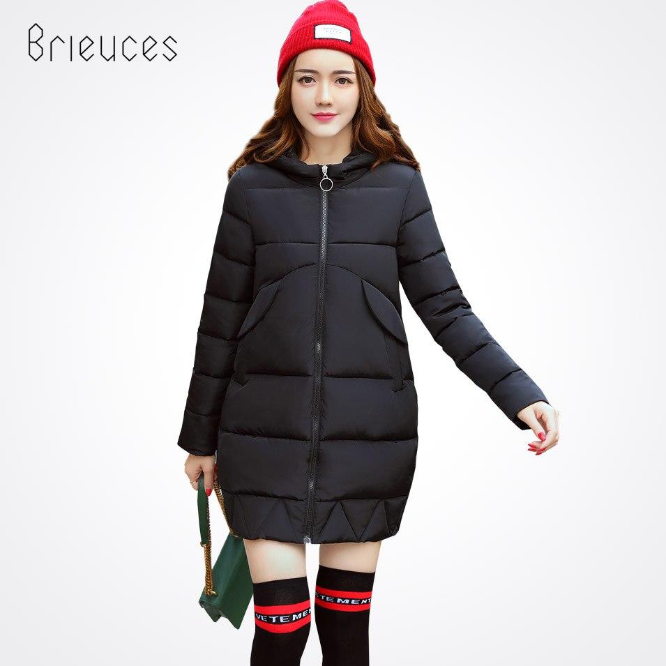 Brieuces winter jacket women 2017 fashion slim long cotton-padded Hooded jacket parka female wadded jacket outerwearÎäåæäà è àêñåññóàðû<br><br>