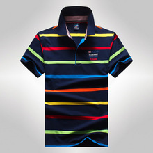 2017 Summer Tace Shark Striped Branded Mens Polo Shirts Strip Short Sleeve Designer Cotton Male Men Brand Polo Shirt Fashion(China)
