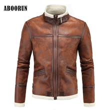 ABOORUN Winter Thick Leather Garment Casual Flocking Leather Jacket Men's Clothing Military Leather Jacket w2048(China)
