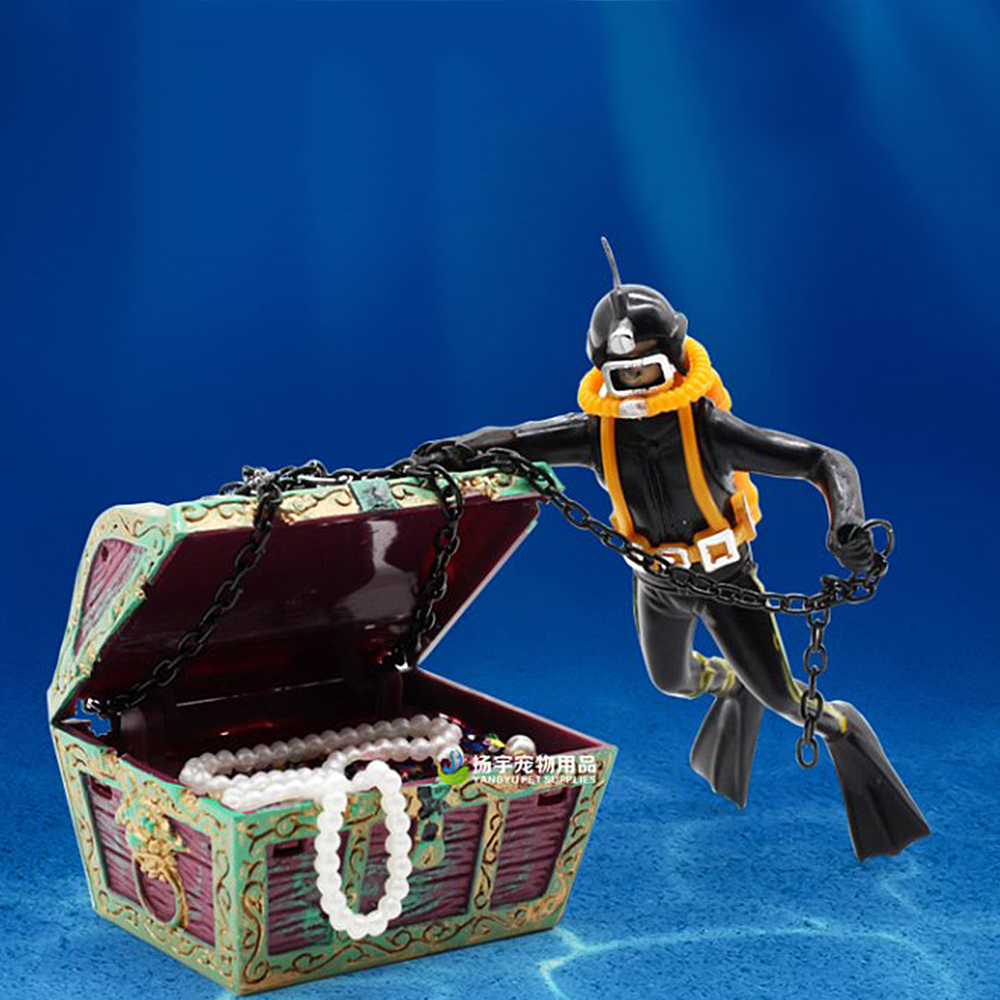 and Bubble Action Decor Aquarium Decoration with Moving Treasure Chest Floating Diver