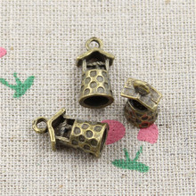 25pcs Antique Style Bronze Color well Pendants Findings Charms 17*9*8mm