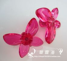 Pink and purple butterfly handle acrylic / Ya children Korean press g crystal handle grip