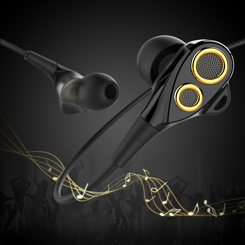 UiiSii DT200 Earphones with Microphone and Volume Control, Dual Drivers Earphones with HiFi Audio, Deep Bass for Noise Isolating