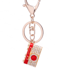 Chaveiro!Rhinestone Mini Camera Key Chains Ring Holder Alloy Car Keyring Charm Handbag Keyfobs Women Bag Pendant Gifts R116