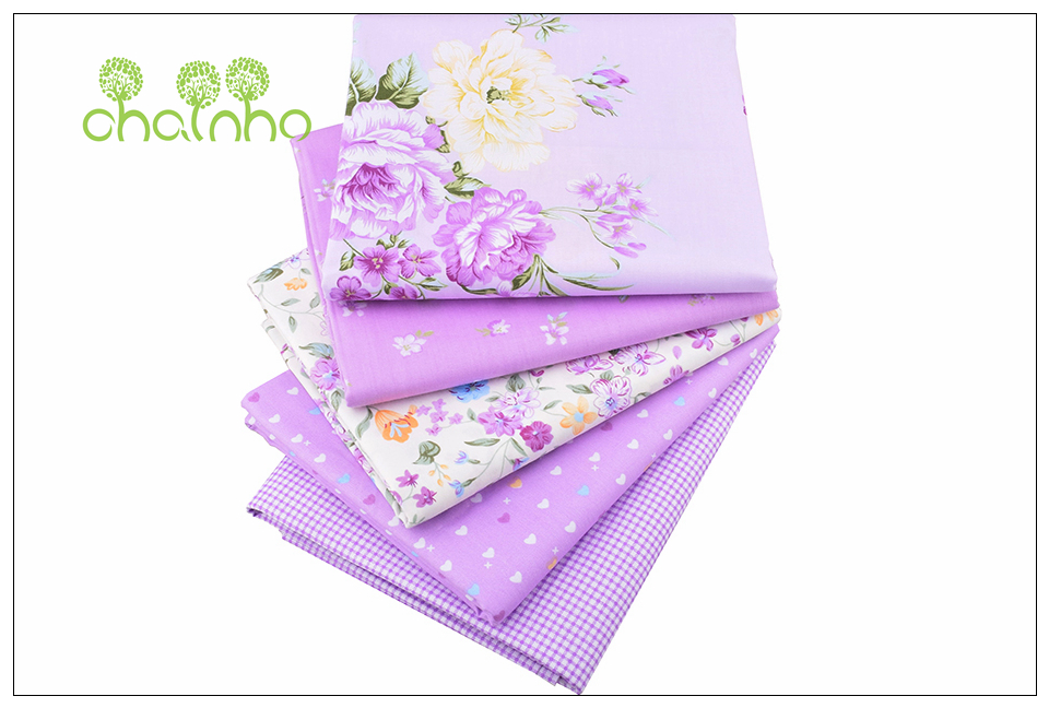 Chainho Twill Cotton Fabric,Patchwork Floral Tissue Cloth,DIY Sewing Quilting Fat Quarters Material For Baby&Children,5pcs/lot 3