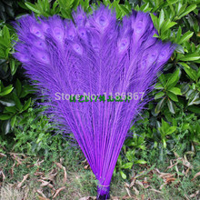 Free shipping 100pcs/lot dark purple dyed peacock feather 32-35 inch /  80-90cm peacock wedding decortations peacock feathers