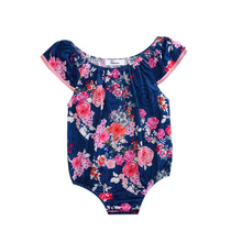 Hi Hi Baby Store Toddler Kids Baby Girls Clothing Floral Print Cotton sleeveless Bodysuit  0-24M