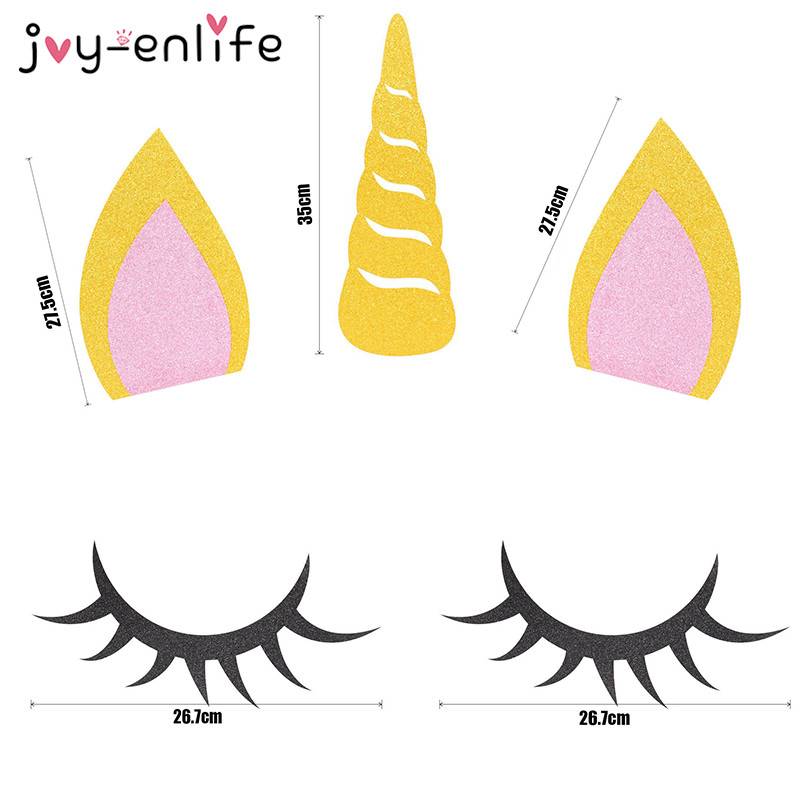 photograph about Unicorn Horn Printable called Contentment-ENLIFE 1fastened Unicorn Occasion Decoration Unicorn Horn Eyelashes Ear Youngsters Birthday Get together Boy or girl Shower Do-it-yourself Occasion Backdrop Materials