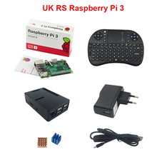 Made in UK Raspberry Pi 3 Model B + Case + 2.4GHZ Wireless Keyboard + 2.5A Power Charger + USB Switch Charging Cable + Heat Sink