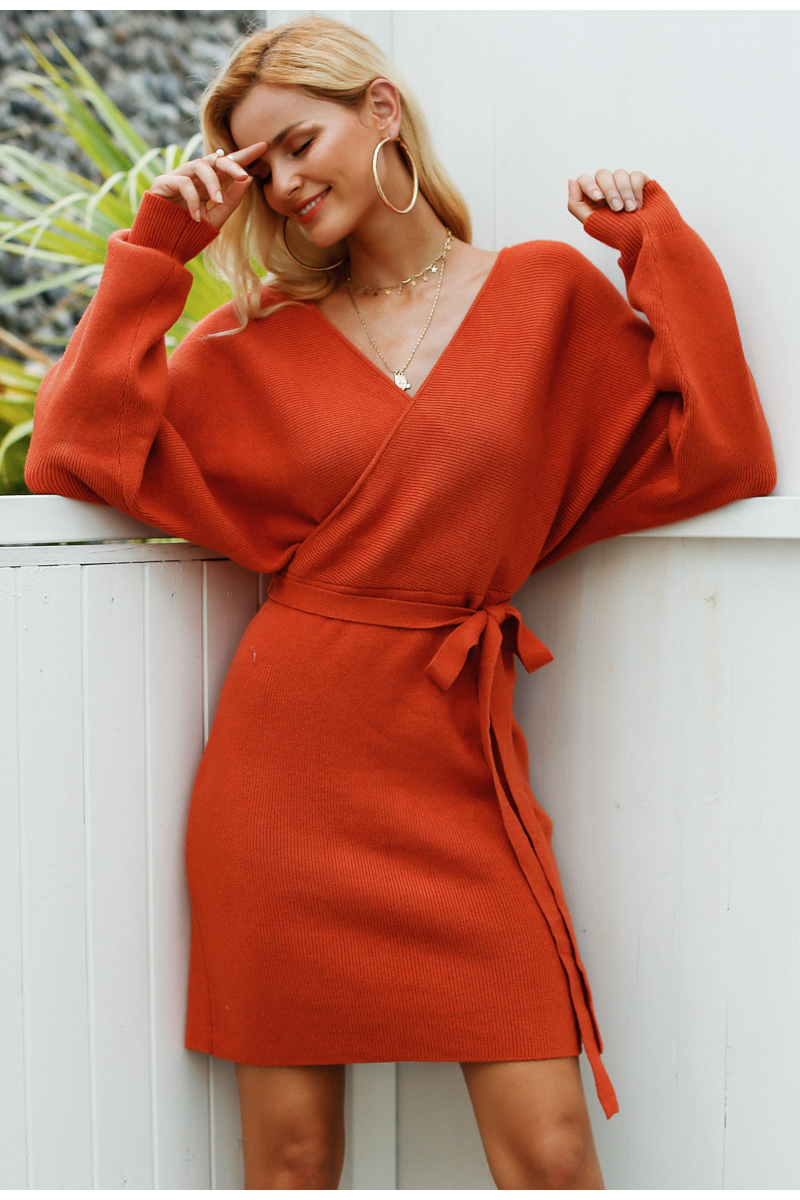 V neck knitted warp dress long sleeve autumn bodycon