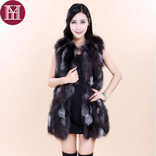 2017  women real fox fur vest fashion lady natural fox fur coat sleeveless gilet brand  winter female genuine fur waistcoat
