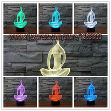 Acrylic 7 Color Changing 3D LED nightlight meditation of acrylic bedroom Illusion lamp living room lights Decoration Night Light