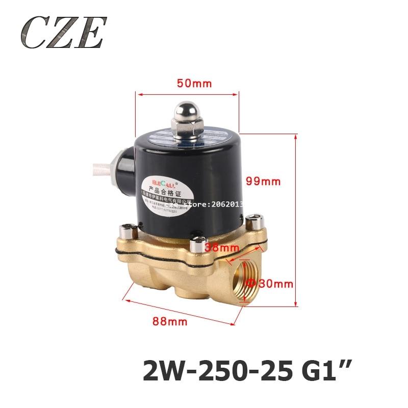 2W-250-25 G1 AC220V DC12V DC24V Copper Water Electromagnetic Valve Solenoid Valves Normal Close<br>