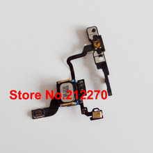50pcs/lot New Proximity Light Sensor Power Button Flex Cable With Ear Speaker & Bracket For iPhone 4 GSM Wholesale