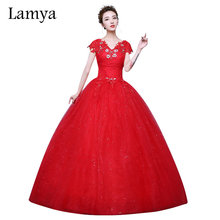 Lamya Brand 2018 New Customizable Red Crystal V Neck Lace Ball Gown Wedding Dress Fashion Bridal Gowns Cheap Vestido De Noiva(China)