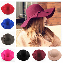 HOT NEW British Vogue Cute Ladies Womens Wool Vintage Wide Brim Bowler Fedora Floppy Cloche Belt Hats Caps Red Blue Black