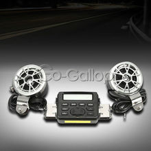Motorcycle Audio Player FM MP3 iPod Radio Sound System Stereo w/ 2 Speakers For Honda Shadow VT / Yamaha V-star /Kawasaki Vulcan