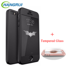 HangRui For iPhone 5S Case Hard PC Luxury Hybrid 360 Full Cover Phone Bag Case For iPhone 5s SE Screen Protector Tempered Glass(China)