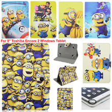 "Lovely Cartoon despicable me yellow minion minions Folio Leather Stand Case Cover For 8"" Toshiba Encore 2 Windows Tablet"