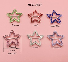 Free shipping 10PCS star crystal rhinestone buckle for wedding invitation card decoration(BCL-3033)