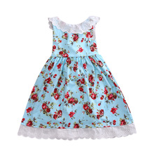 2017 New Flower Sleeveless Toddler Girl Dress Princess Party Pageant Wedding Skater Dress(China)