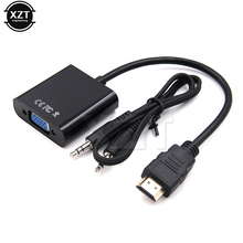 Hot Sale HDMI to VGA Video adaptor Male to Female HDTV Monitor TV for XBOX 360 PS3 3.5mm plug Audio Cable Adapter Converter