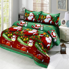 4pcs/set 3D Cartoon Bedding Sets Merry Christmas Gift Santa Claus Bedclothes Duvet Quilt Cover Bed Sheet 2 Pillowcases New Year(China)