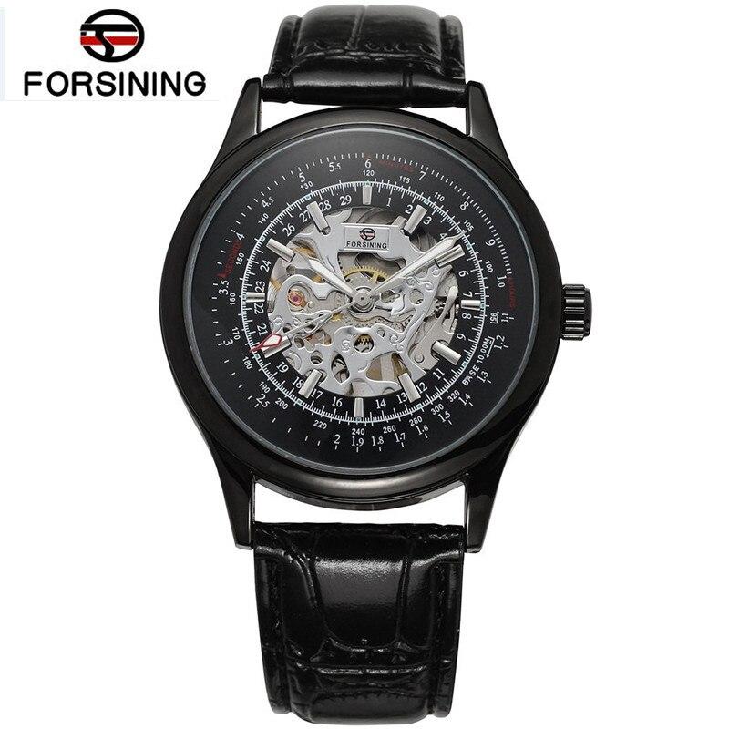 Forsining Casual Mens Skeleton Handwind Watch Mechanical Watches PU Leather Wristwatch Free Ship<br><br>Aliexpress