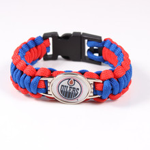 5Pcs/lot 2017 Hockey Edmonton Oilers Charms Paracord Survival Bracelet Mens Friendship Outdoor Camping Bracelets Bangles