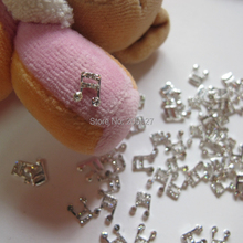 MD-333 10pcs Fancy Crystal Rhinestone Silver Music Sign Deco Metal Charms Metal Deco Charms Nail Art(China)