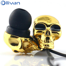 Ollivan Skull Earphone Fashion Cool Stereo Earplugs Metal Earbuds Skeleton Sub-woof Headsets In Ear Earphones Music Earpieces