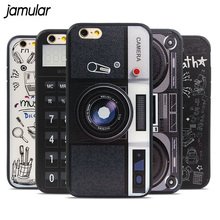 JAMULAR Vintage Calculator Cassette Recorder Camera Hard Plastic Case Cover for iPhone 6 6s Plus Covers Back Cases Fundas Coque