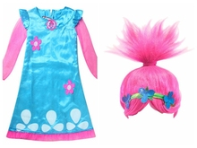 Wearing a wig Girls Dress Child Costumes Christmas Costumes For Girls Net Yarn Sleeve Teenage Girls Clothing Dresses(China)
