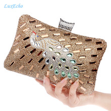 New Arrival Golden Peacock Party purse Woman's Fashion Pearl Evening Bags Day Clutches Fashion clutch bags small rhinestone bag