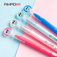 AIHAO Brand Refill Replaceable 0.5mm Erasable Gel Pen Rollerball Pens Cute Cartoon Face School Students Colorful Carbon Pen Gift
