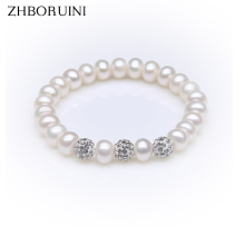 ZHBORUINI Charm Bracelet Pearl Jewelry Crystal Ball Bracelets Natural Freshwater Pearl 925 Sterling Silver Jewelry For Women