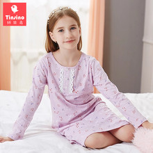 Tinsino Children Girls Autumn Nightgowns Long Sleeve Lace Nightdress Spring Flowers Sleepwear Kids Girl Pajamas Home Clothes