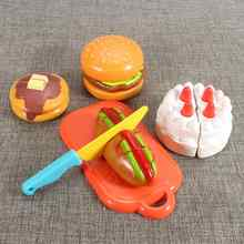 Plastic Children Cut Cake Pretend House Playing Baby Classic Toys Kitchen Food Hamburger Colourful Kids Favor Birthday Gift