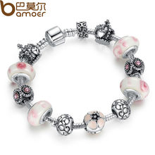 Silver Charm Bracelet Pulseira with Pink Beads Snake Chain Bracelet for Women Special Store Jewelry Pulseras Mujer PA1438(China)